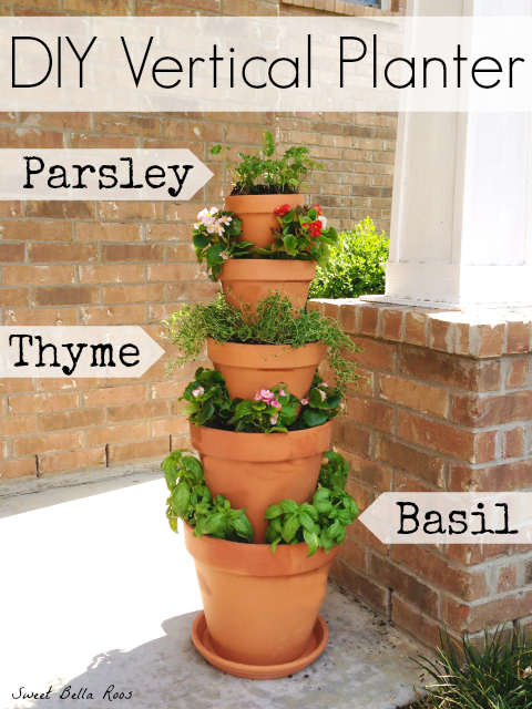 Potted Vertical Herb Garden with Parsley, Thyme, and Basil
