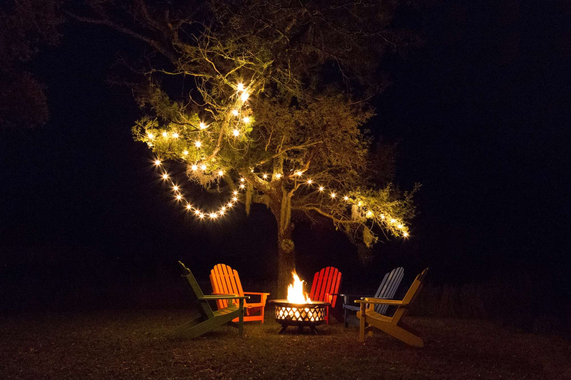 pawleys adirondack with fire pit and outdoor lighting